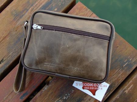 Ručna kožna torbica zelena old - zelena maslina