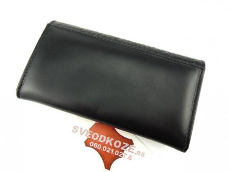 Ženski kožni novčanik 1 crni kroko