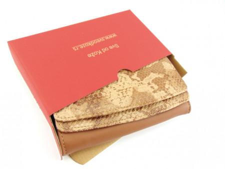 Ženski kožni novčanik 2 svetlo braon zmija