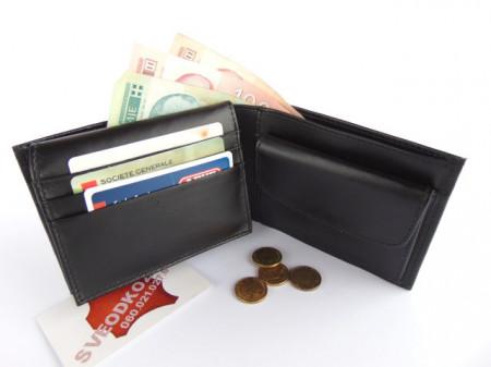 Tanki muški kožni novčanik sa dodatkom za kartice crni