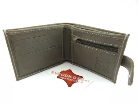 Muški kožni novčanik 5 sivi sa kopčom