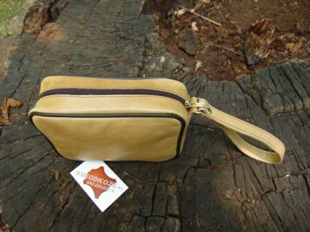 Ručna kožna torbica svetlo braon