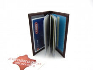 Kožna futrola za kartice sa 6 mesta čokolada