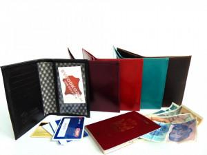 Kožna futrola za pasoš kartice i papirni novac CRNA