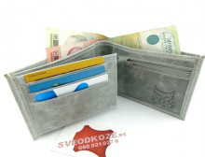 Muški kožni novčanik m3 sivi melirani