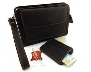 Braon brušena ručna kožna torbica i držač za kartice