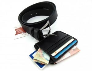Crni kožni držač za kartice i crni univerzalni kaiš