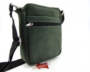 Kožna torbica sveodkože sivo zelena brušena