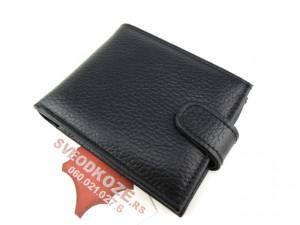 Muški kožni novčanik m4 crni reljef sa kopčom