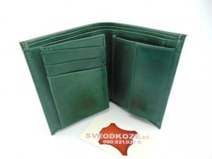 Uspravni kožni novčanik bez kopče zeleni