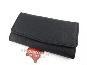 Ženski kožni novčanik 7 crni čipka