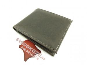 Muški kožni novčanik 5 sivi bez kopče