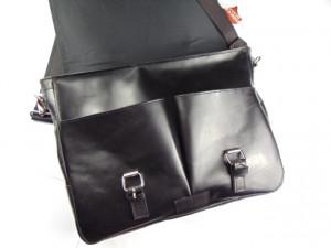 Crna poslovna torba od prirodne kože