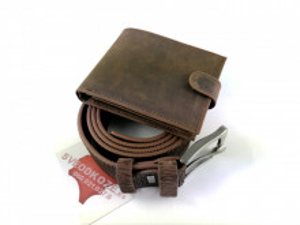 Klasični braon brušeni kožni novčanik i braon brušeni kaiš
