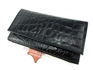 Ženski kožni novčanik 5 crni krokodil