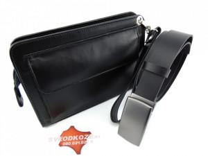 Elegantna crna ručna torbica i crni kaiš sa pločicom