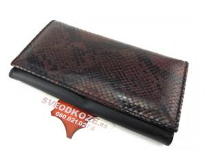 Kožni ženski novčanik Pariz braon crna zmija