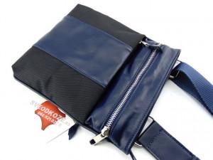 Sportska torbica 1 koža platno crno plava