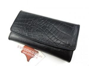 Ženski kožni novčanik 7 crni kroko