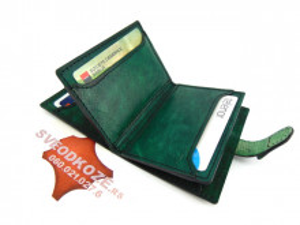 100 % kožna futrola za kartice zelena