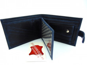 Kožni novčanik 6 plavi brušeni