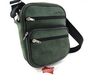 Muška kožna torba 4 sivo zelena brušena