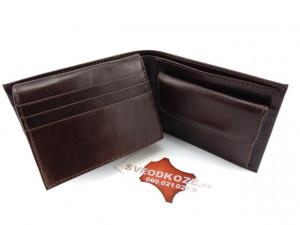 Tanki muški kožni novčanik sa dodatkom za kartice tamno braon