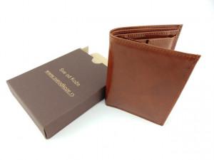 Uspravni kožni novčanik bez kopče klasik braon