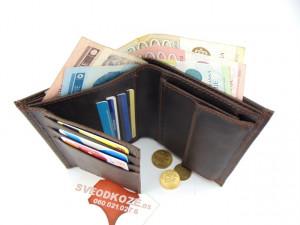 Uspravni kožni novčanik bez kopče tamno braon brušeni