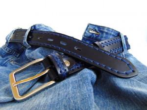 Crno plavi ručno šiveni kožni kaiš