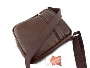 Kožna torbica sveodkože tamno braon reljef