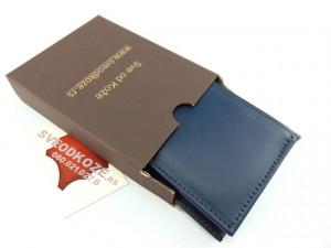 Muški kožni novčanik m3 tamno plavi bez kopče