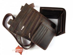 Tamno braon brušena torbica novčanik i veći držač za kartice