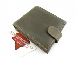 Muški kožni novčanik m4 sivi sa kopčom