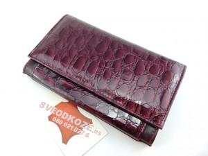 Kožni ženski novčanik Ekskluziv bordo koral