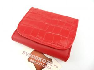 Mali ženski kožni novčanik crveni kroko