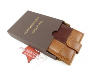 Muški kožni novčanik 5 karo braon