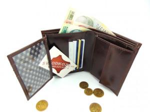 Uspravni kožni novčanik bez kopče braon tamni
