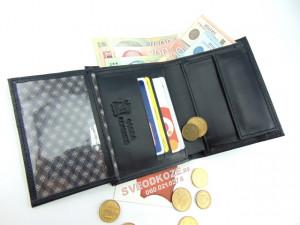 Uspravni kožni novčanik bez kopče crni