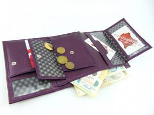 Ženski kožni novčanik Moderna ljubičasti reljef