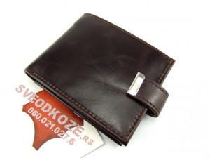 Kožni novčanik za 12 kartica i papirni novac TAMNO BRAON