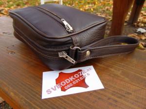 Ručna kožna torbica 3 braon tamna reljef
