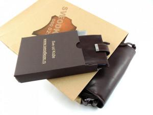 Tamno braon kozna torba i novčanik za kartice i papirni novac