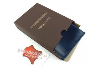 Tanki muški kožni novčanik sa dodatkom za kartice plavi