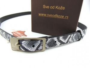 Ženski kožni kaiš srebrna zmija