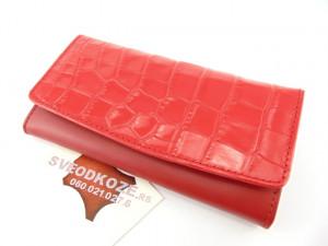 Ženski kožni novčanik 1 crveni kroko