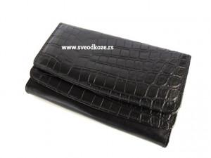 Ženski kožni novčanik 2 crni kroko