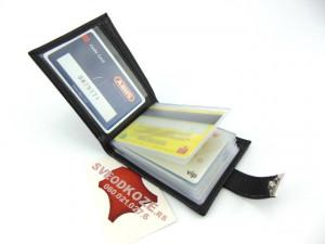 Kožni novčanik za kartice 12 mesta crni reljef