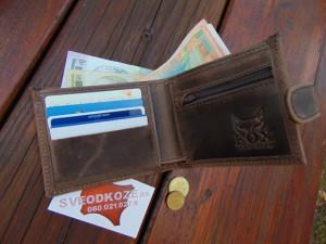 Muški kožni novčanik 5 braon brušeni