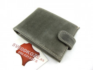 Muški kožni novčanik m3 sivi old mat